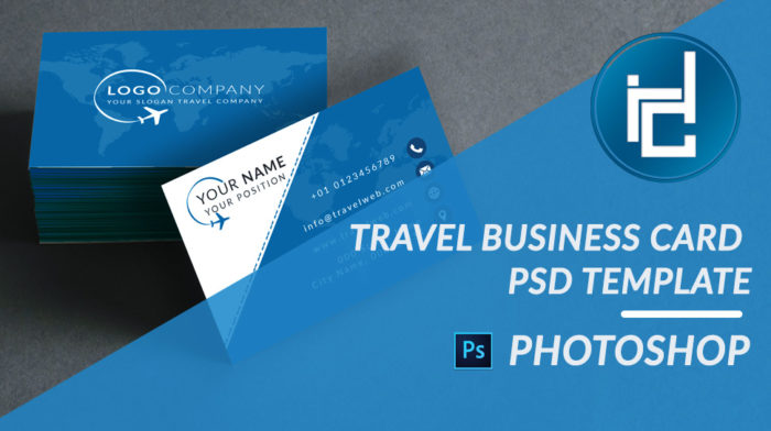 Travel business card psd template