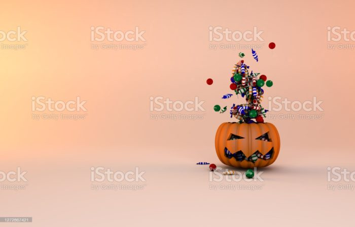Pompkin for halloween celebration and flying candies