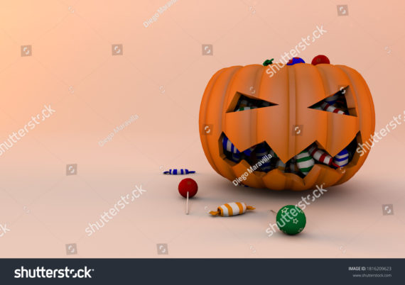 Pumpkin and candies 3d Render