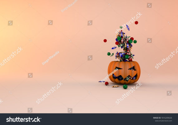 Pumpkin for halloween celebration and flying candies