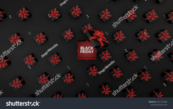 Black Friday background black gifts